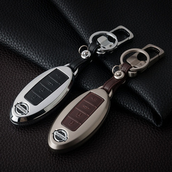 Zinc alloy+Leather Car Remote Key Cover Case For Nissan Qashqai J10 J11 X-Trail t31 t32 kicks Tiida Pathfinder Murano Note Juke image