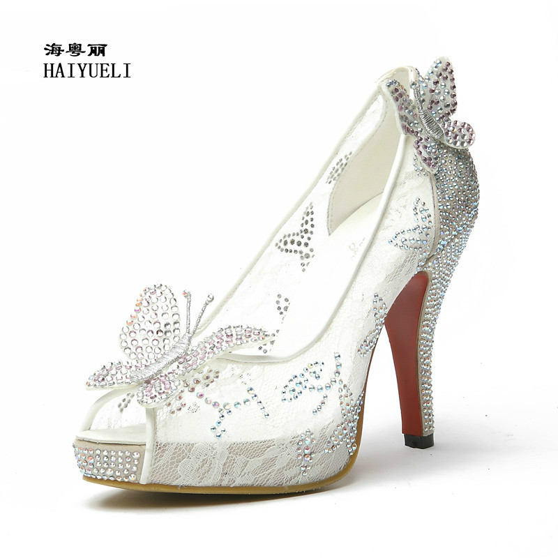 Lace High Heels Crystal Wedding Shoes Thin Heel Rhinestone Platform Butterfly Cinderella Crystal Shoes