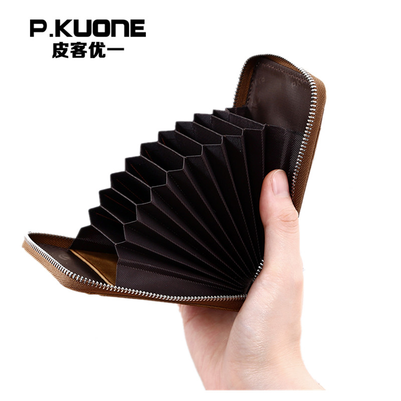 P.KUONE Genuine Leather Blocking Mini Wallet Protect Safe Credit Card Holder Designer High Quality Clip Waller Purse Capacity