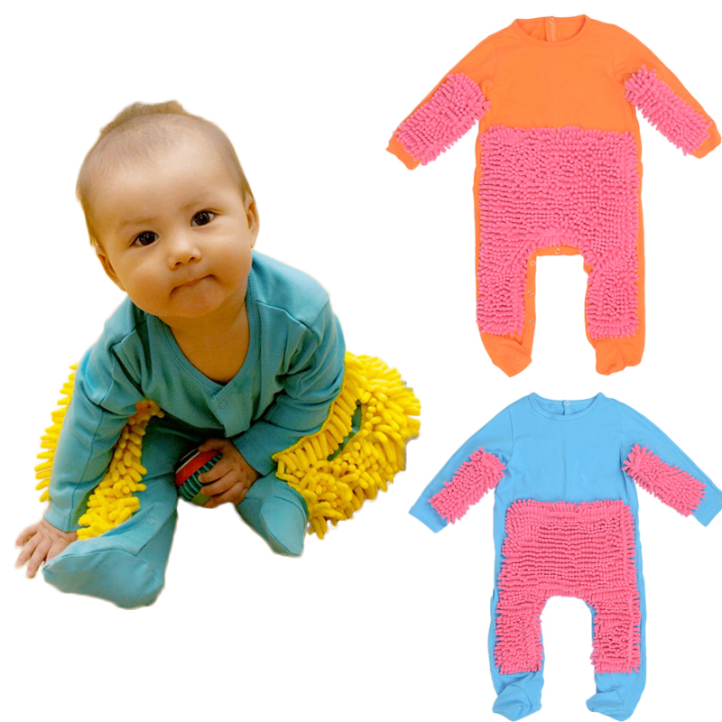 Hot Baby Mop Romper Outfit Unisex Boy Girl Polishes Floors Cleaning Mop Suit Autumn Winter Kids Crawls Toddler Swob Jumpsuit