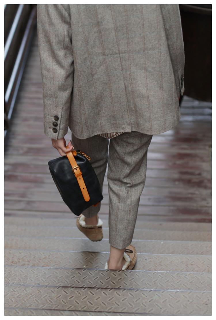Aetoo bolsa feminina, pequena textura retro couro