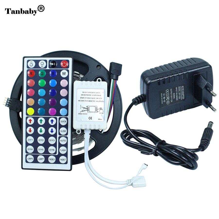 150leds / 5M SMD 5050 RGB LED lente Elastīga diodes lente 12V LED lente Led sloksne + 44 taustiņi IR tālvadības pults + 12V 2A barošanas adapteris