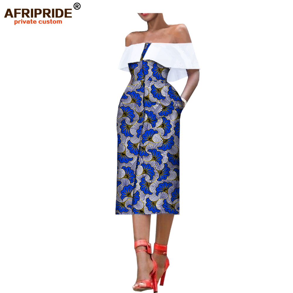 2018 african style summer women dress AFRIPRIDE sleeveless mid calf single breasted strapless casual dress for