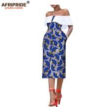 купить 2018 african style summer women dress AFRIPRIDE sleeveless mid-calf single breasted strapless casual dress for women A7225159 по цене 2649.16 рублей