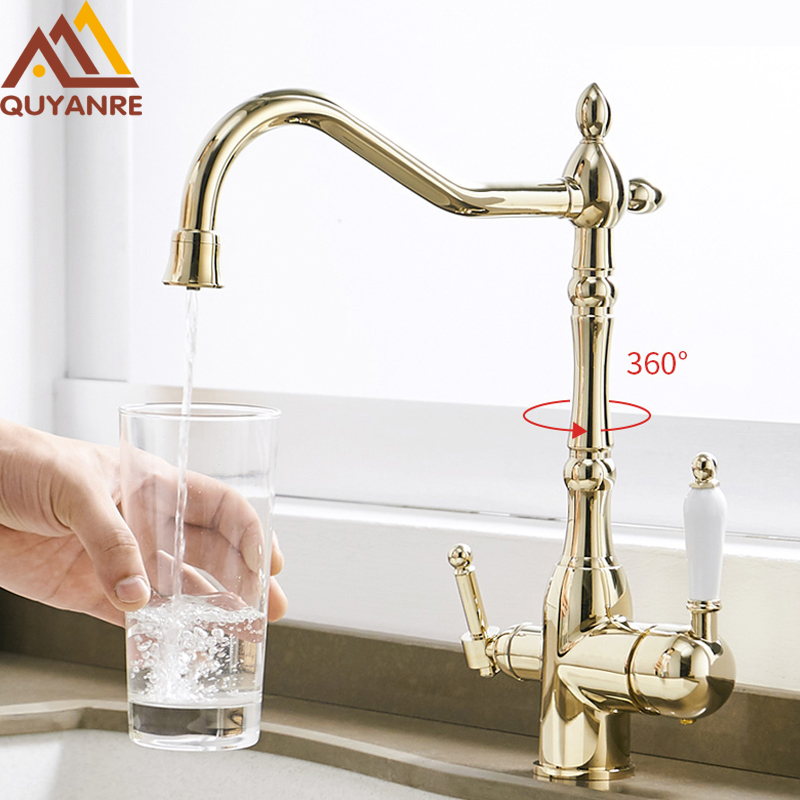 Quyanre Gold Kitchen Faucets Mixer Drinking Water Filtered Kitchen Tap 360 Rotation Mixer Tap Purification Kitchen Crane Tap