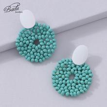 Badu Big Round Dangle Earrings for Women 2019 New Vintage Wooden Beads Handmade Pendant Costume Jewelry Wholesale