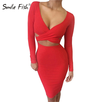 Sexy Bodycon Bandage Dress Long Sleeve Elastic Warm Elegant Party Dresses 2018 Sexy Midi Pencil Club Bodycon M0522 1