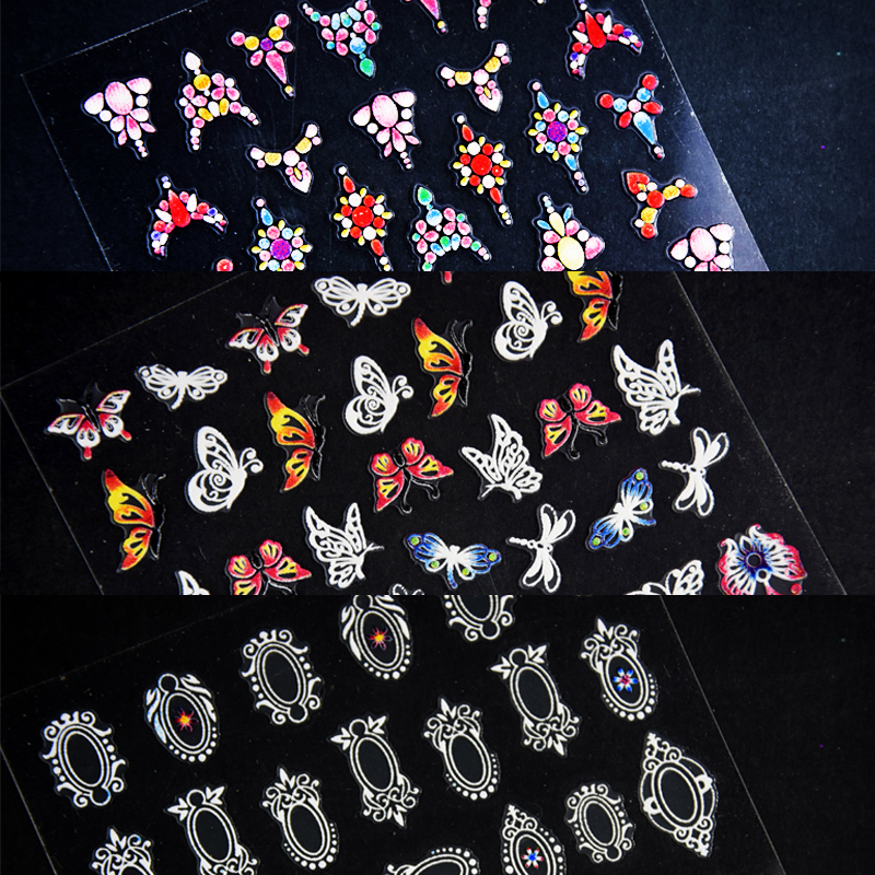 Image 4 - 1 sheet 3d Nail Art Sticker Adhesive Sticker Decals Tool DIY Nail Decoration Tool Embossed Flower Sticker-in Stickers & Decals from Beauty & Health