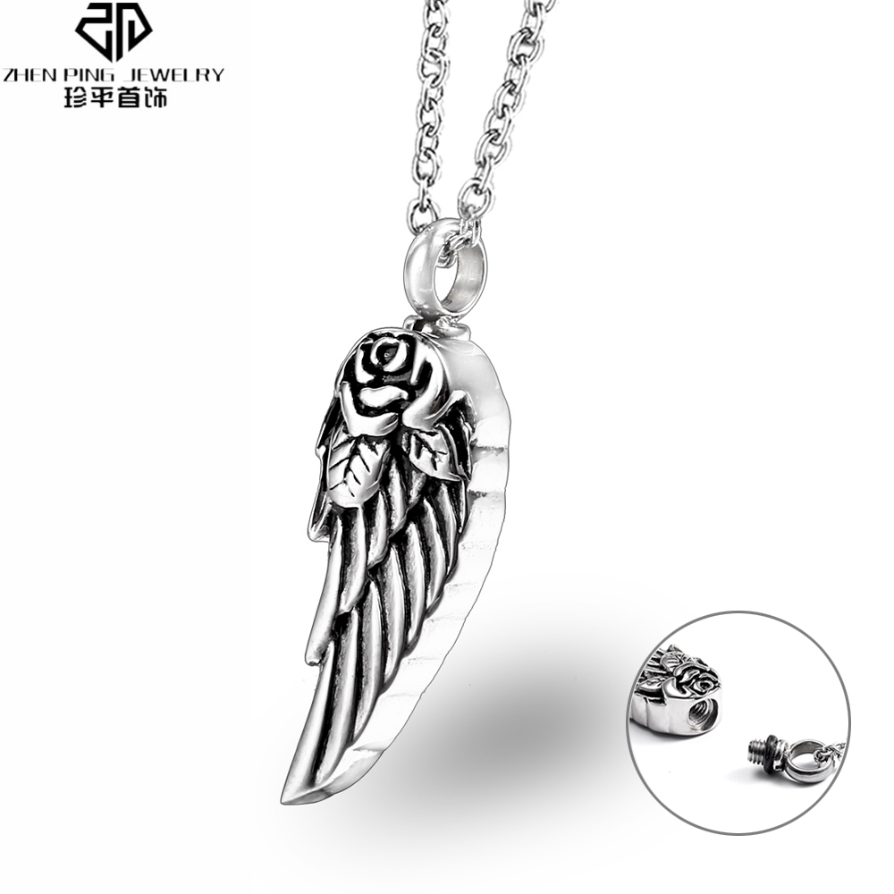 Trendy Mini Pet Urn Stainless Steel Angel Wings Cremation Urn pendant for Ashes Perfume Bottle Men Women