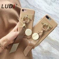 LUDI New Korean Elegant Silk Ribbon Mink Case For IPhone 8 7 7 8plus Milk Tea