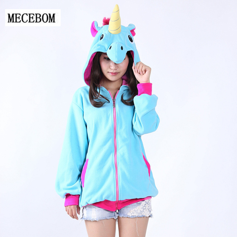 MECEBOM Women Hoodies Fashion Cartoon unicorn Sweatshirts Tracksuits Women gardigan hoodies Girl Winter cute Hooded Jacket