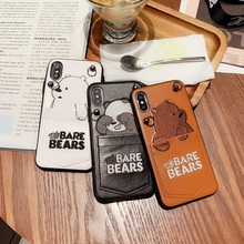 Cute Cartoon Embroidery We Bare Bears Phone Case For iPhone X XR XS Max 7 8 6 6S Plus  Soft Cover With Lanyard Card Pocket Coque