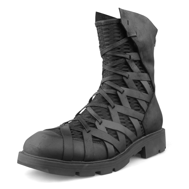 Mens Knight High Top Boots Cross Strappy Leather Net Chunky Heels Military Black Combat