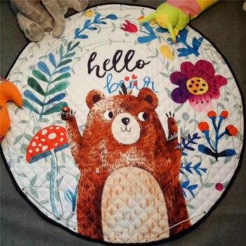 Home decor Kids room Carpet round 150*150cm fox baby play mat Patchwork picnic blanket ANITSLIP tapetes para casa sala kid tapis 5