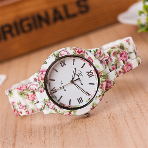 NEW Metal Head Printed Geneva Flowers Watch Women Print Plastic Band Vintage Ladies analog quartz wristwatch Reloj Mujer clock women vintage watch ladies lace printed analog leather quartz watch women 2016 brand luxury famous wristwatch reloj hombre