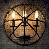 American retro iron wall lamp LOFT industrial style dining room 3 simple semi circle globe lamp for livingroom bedroom bar lamps