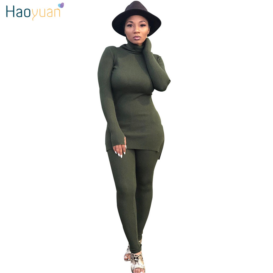a64288d55c0 HAOYUAN Knitted Two Piece Set Jumpsuit Women Autumn Winter Long Sleeve  Turtleneck Sweater Cotton Sexy Rompers Bodycon Jumpsuit