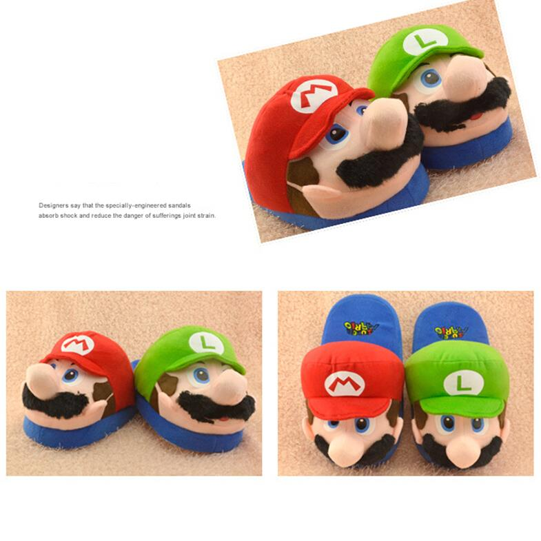 Super Mario Kids Adult Slippers Toys Home Shoes Cotton Plush Winter Home Woman Man Luigi Slipper Indoor Cute Slippers