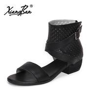 Xiangban 2018 Summer Gladiator Sandals Women Genuine Leather Mid Heels Buckle Rome Sandals Black Peep Toe