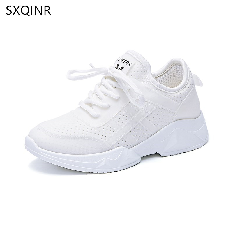 Woman Casual Shoes Breathable 2018 Breathable White Sneakers Women New Arrivals Fashion Lycra sneakers Shoes Women Flats