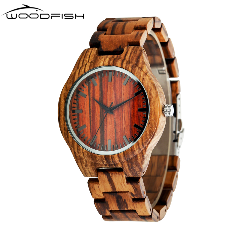 WOODFISH Wooden Quartz Watches Retro 22mm Wood Brand Designer Full Zebra Watch Classical Wristwatches with Gift Box Male relojes