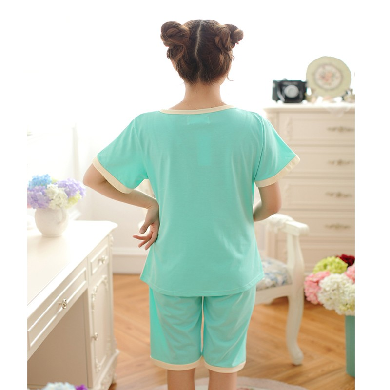 Costumes for home Summer women\'s clothing suits nightie for nursing mothers blouse breastfeeding Cotton Pajamas Shirt pants bear 3