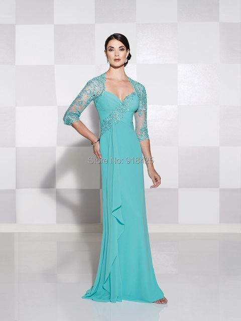 f36181a1a41 New Arrival Turquoise Mother of the Bride Dress with Sleeves Lace Appliques  Chiffon Gown Country Western MG185