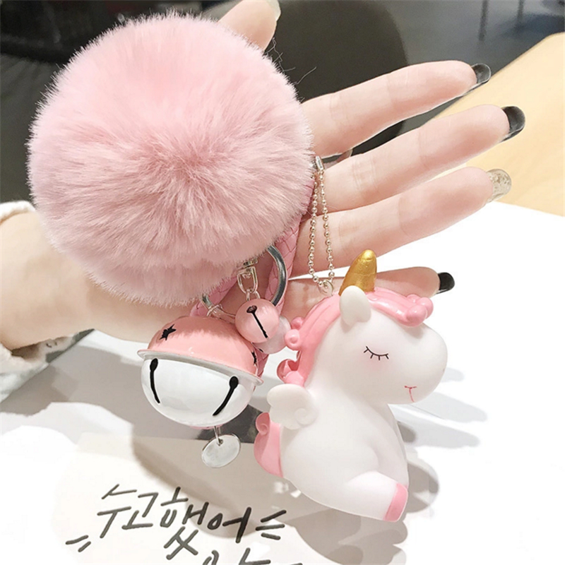 9cd1d408c Fluffy Pompon Unicorn Keychain Rabbit Fur Ball Horse Key Chain Porte Clef  Holder Bag Car Key Ring Chaveiros Women Accessories-in Key Chains from  Jewelry & ...
