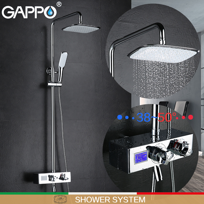 GAPPO shower faucets bathroom faucet shower LCD Digital Display shower mixers thermostatic bathtub faucet shower system gappo bathtub faucet thermostatic shower mixers in wall faucets shower faucet thermostatic thermostat taps