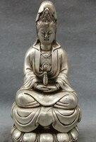 JP S0608 9 Chinese Silver Buddhism GuanYin Goddess Pot Joss Brass Kwan yin Buddha Statue (B0328)