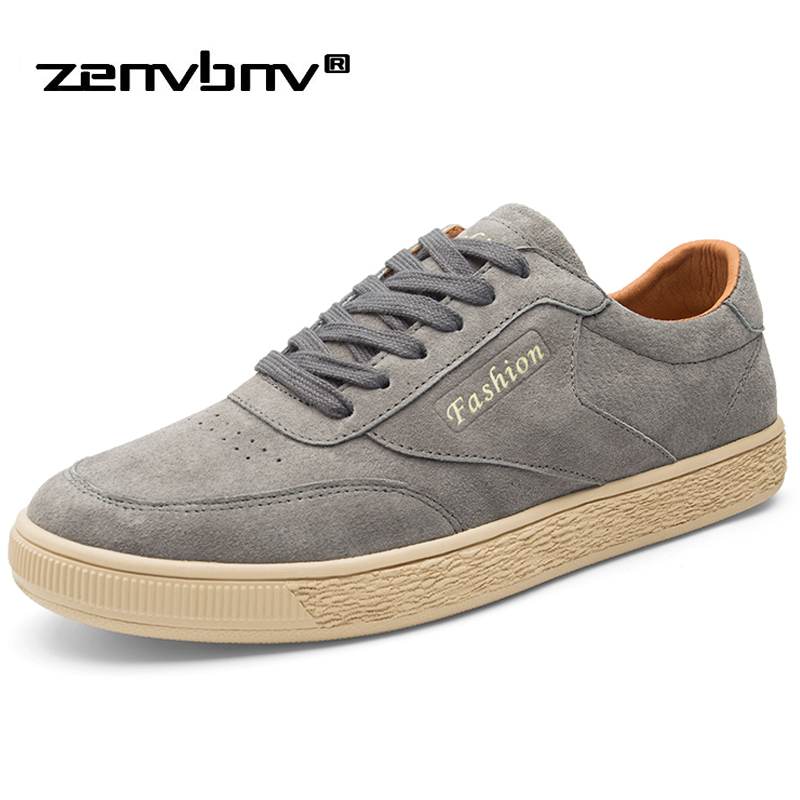 ZENVBNV Fashion Spring Summer Pig   Suede   Sneakers Men Flat   Leather   Shoes Classic Fashion Trainers High Quality Men Casual Shoes