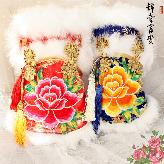 Free shipping handmade hight quality rich and honored peony fur brocade dog coat for winter spring