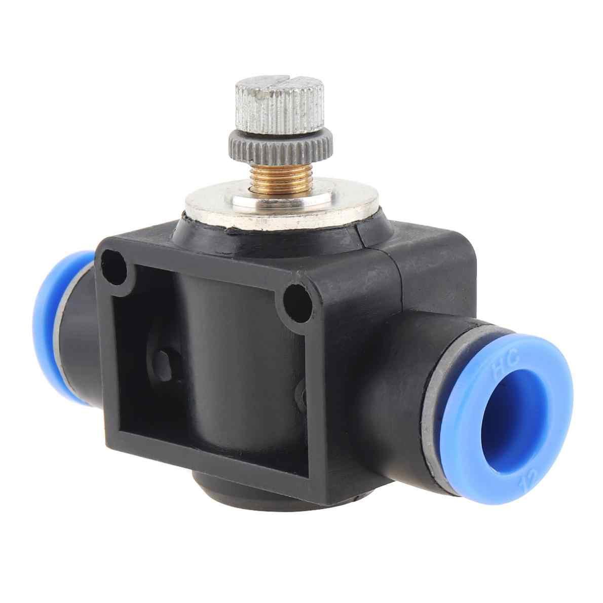 12mm práctico negro ajustable componentes neumáticos conector rápido Válvula de mano de flujo de Gas con enchufe de plástico
