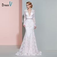 Dressv Ivory V Neck Long Sleeves Wedding Dress Beading Mermaid Button Floor Length Lace Wedding Dress
