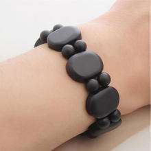 100% Quality Natural Black Bian Stone Bianshi Bracelet Carve Black Bianshi Bracelet Jewelry For Women and Men Bracelet(China)