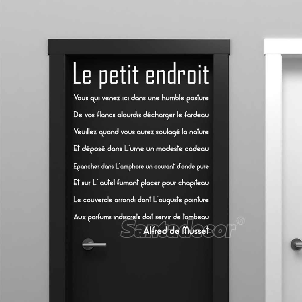 Sticker Citation Porte De Toilette Le Petit Endroit Vinyl Wall Decor Wc Wall Art Decal Toilet Door Sign Home Decor Poster Paper Wall Stickers Aliexpress