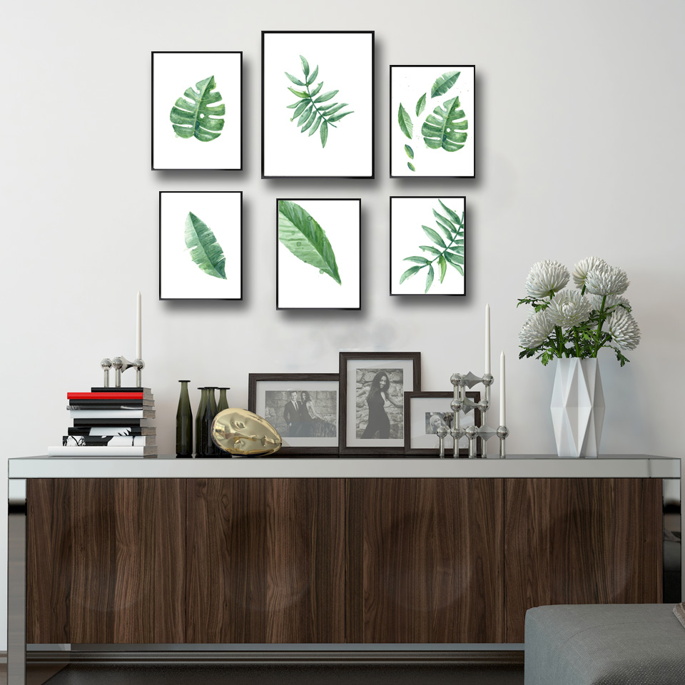 watercolor tropical leaf green plant art canvas poster. Black Bedroom Furniture Sets. Home Design Ideas