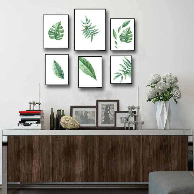 Watercolor Tropical Leaf Green Plant Art Canvas Poster Modern Minimalist Living Room Wall Decor Painting No