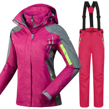 Фотография  2017 Winter Mountain Skiing Suit for Women Windproof Breathable Waterproof Snowboard Jackets+Pants Warm Sports Clothes Set