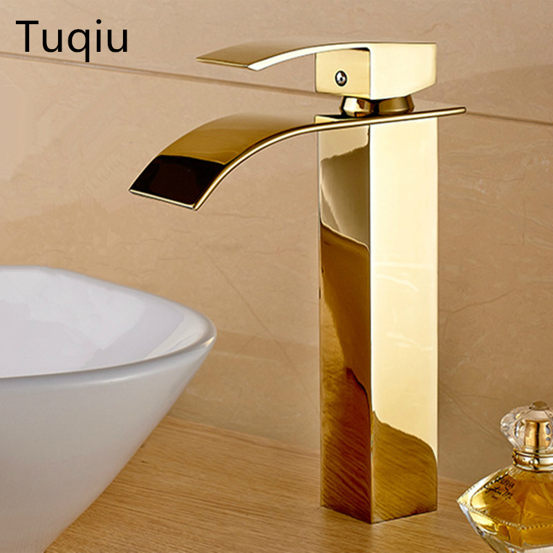 Hot & cold Gold Bathroom Waterfall Basin Faucets Deck Mounted Bathroom Sink faucet basin faucet Mixer basin tap torneira cozinha sliver waterfall basin faucet single handle copper mixer hot cold mixer basin tap deck mounted bathroom sink faucets