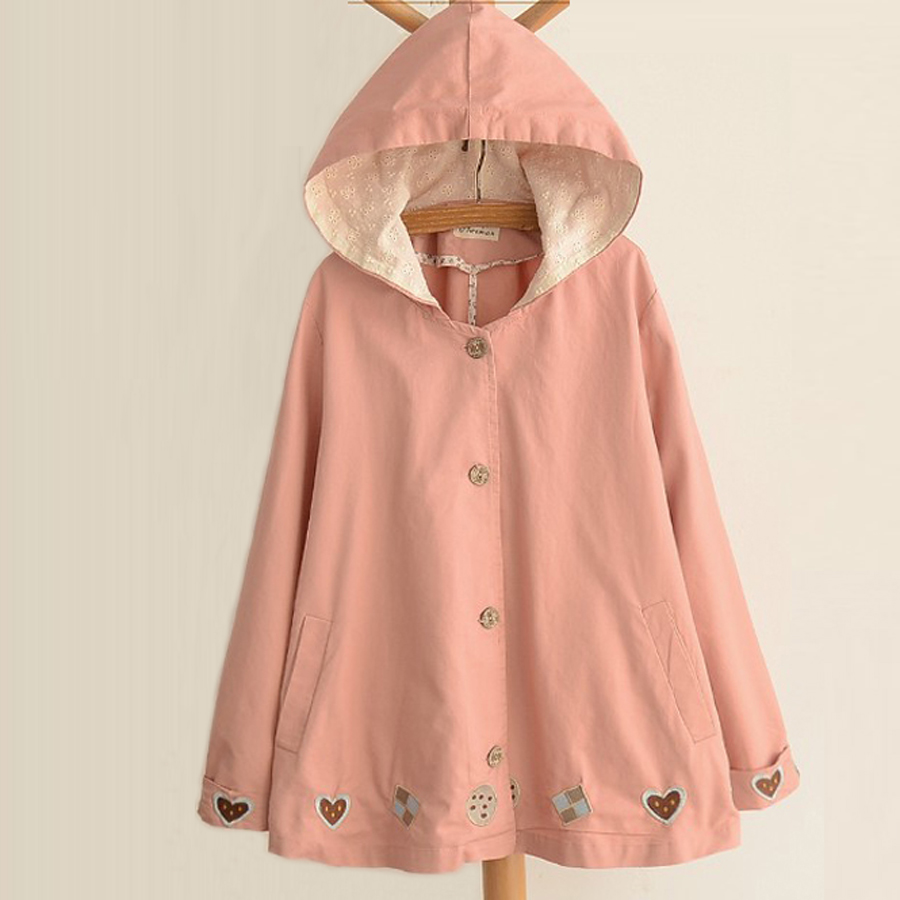 Spring Autumn 2018 Fashion Women Casual Coat Female Long Hooded Windbreakers Jacket Cardigan Loose Cartoon Embroidery Coat
