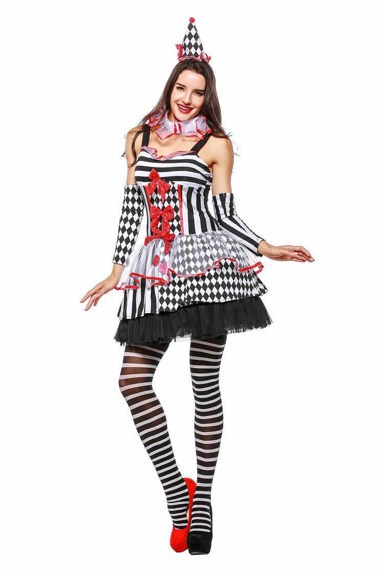 b69deabafc586 ... Halloween Female Sexy Clown Circus Costume Girl Naughty Harlequin Fancy  Dress Stripe Dresses Uniform