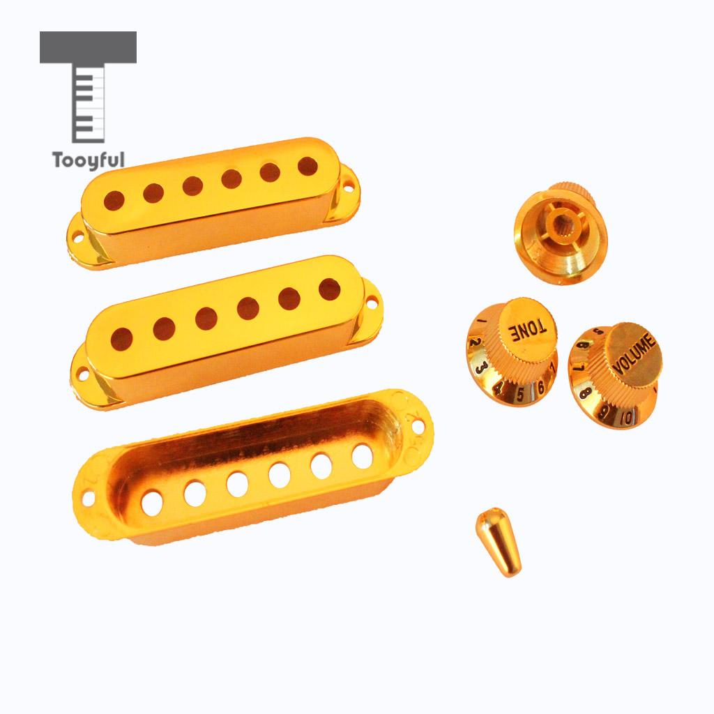 Tooyful Professional 1Set Plastic Single Coil Electric Guitar Pickup Cover 1 Volume 2 Tone Speed Control Knob Guitar Switch Tip professional vintage set of single coil pickup neck middle bridge for electric guitar musical instrument accessory brand new