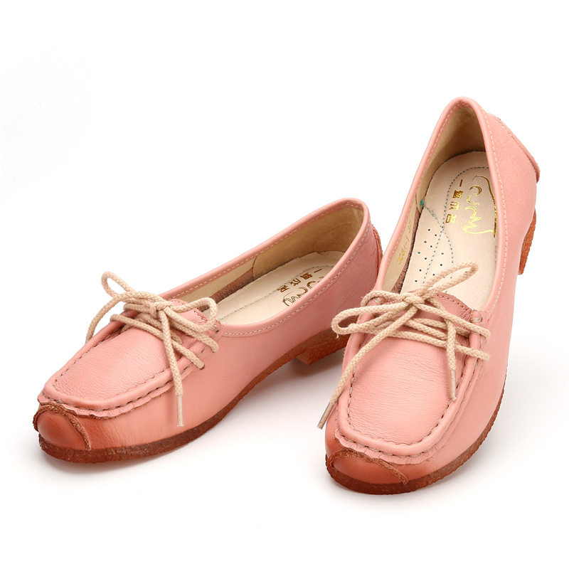 ФОТО 2016 Hot Sell Autume Style Flat Shoes Genuine Leather Women Shoes Lace-Up casual Flats Solid Driving Boat Footwear 308A-1 Z3ay