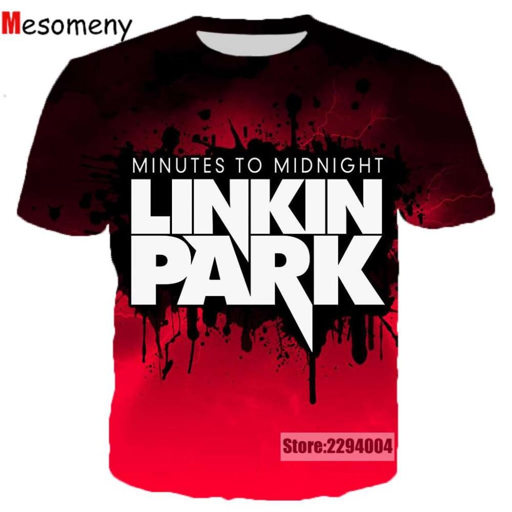 0632df4b85a Mesomeny Linkin Park T-Shirt 2018 Fashion Short Sleeves Men Women t shirt  3D Printed