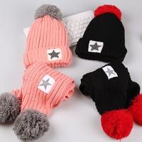 1 13T Baby Boys Girls Warm Fur Fleece Star Winter Hat Kids Children Cap Scarf 2pcs