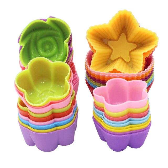 Mini moldes de silicona para cupcakes, herramientas de silicona para Tartas, magdalenas, 12 unids/lote