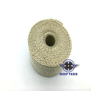 """Image 3 - 10m x  2"""" Free Shipping  Beige Exhaust Muffler Pipe Header Heat Resistant Exhaust Wrap With 10 Pcs Stainless Steel Cable Ties"""