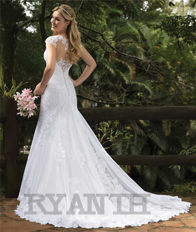 Vestido de novia 2019 New Arrival Lace Mermaid Wedding Dress Sexy V Neck Cap Sleeves Wedding Gowns Robe de mariee Custom Made in Wedding Dresses from Weddings Events
