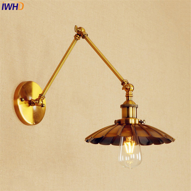 Retro Copper Vintage Wall Lamp LED Edison Adjustable Swing Long Arm Wall Light Fixtures Loft Industrial Wall Sconces Apliks copper retro loft vintage wall lamp